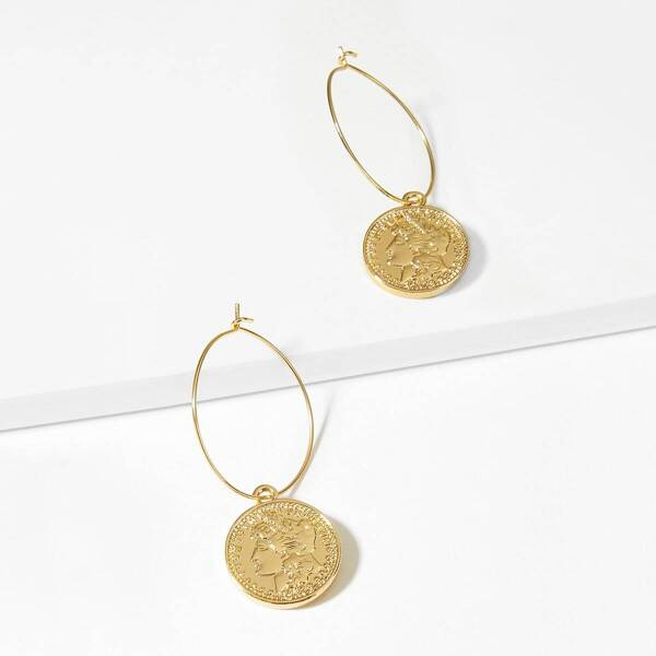 Figure Decor Round Decorated Hoop Earrings 1pair, Gold