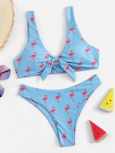 608aedf922 Random Flamingo Print Knot Top With Cut Side Bikini Set   SHEIN