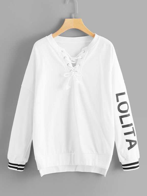 262631dd39 Lace-Up Front Letter Print Sweatshirt -SHEIN(SHEINSIDE)