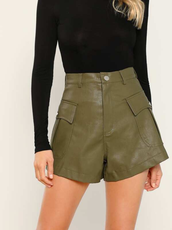 Faux Leather Cargo Shorts by Sheinside