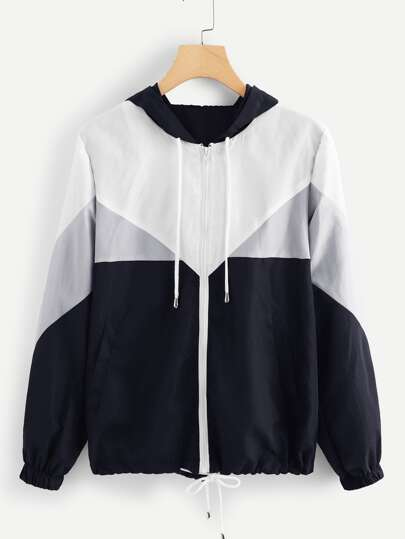 abe8faef080aa Plus Cut And Sew Hooded Jacket