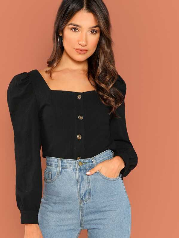 Button Up Puff Sleeve Shirt by Shein