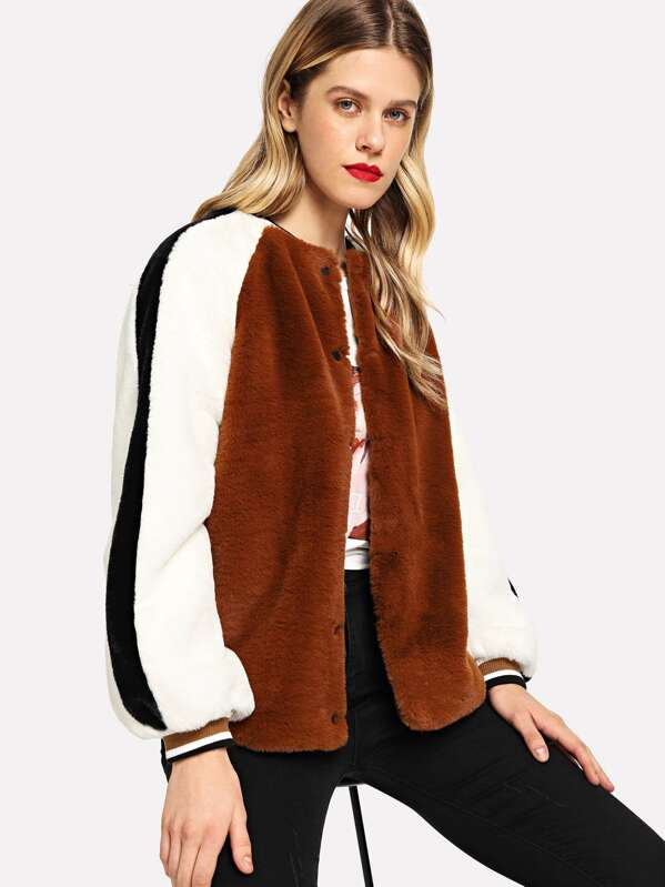 Color Block Faux Fur Teddy Coat by Shein