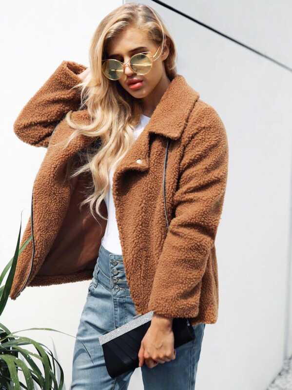 Notched Neck Zip Up Solid Teddy Jacket by Sheinside