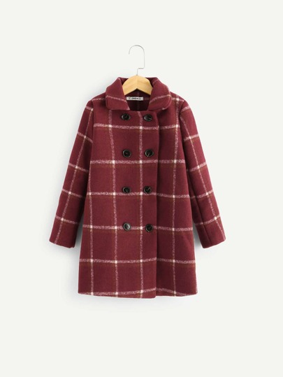 a7c34df4b Girls Double Breasted Grid Collar Coat