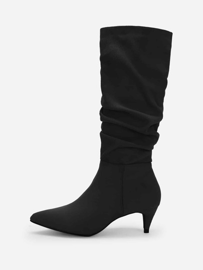 461583c12a4 Plain Pointed Toe Ruched Boots