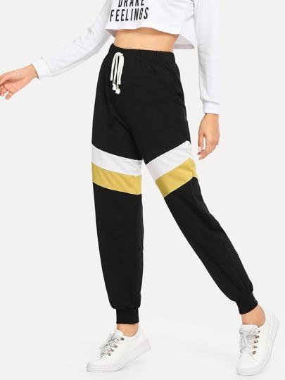 Pantalones de color block de cintura con cordón 13e2f133335