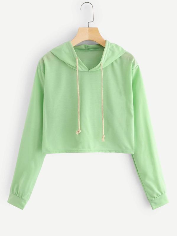 7f7eb696a8c Drawstring Hooded Crop Sweatshirt -SheIn(Sheinside)