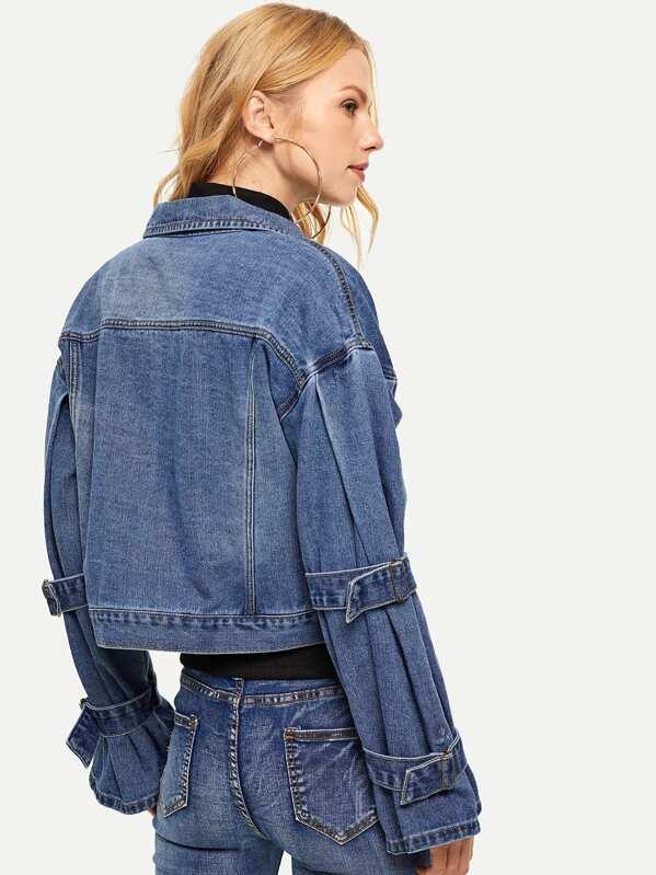 4a5156da59 Drop Shoulder Bleach Wash Denim Jacket -SheIn(Sheinside)