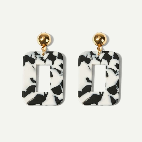 Marble Pattern Open Square Drop Earrings 1pair, Black and white