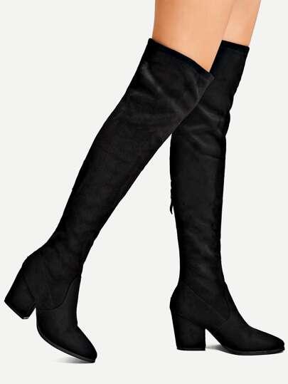 218958203c8 Back Zipper Block Heeled Suede Boots