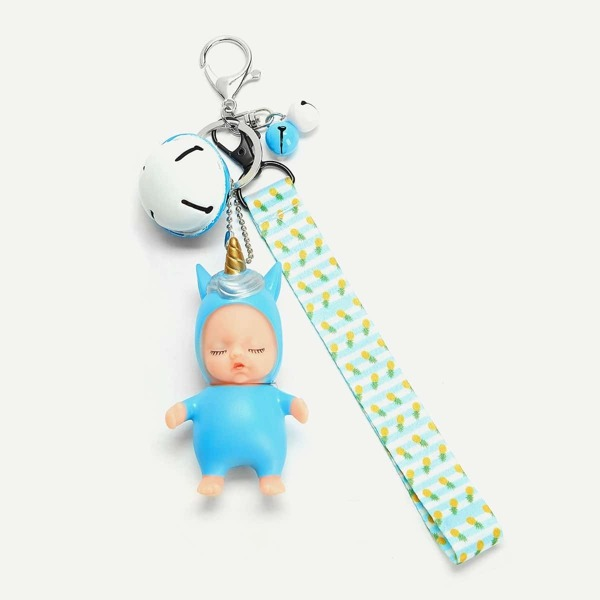 Bell Decorated Keychain, Blue