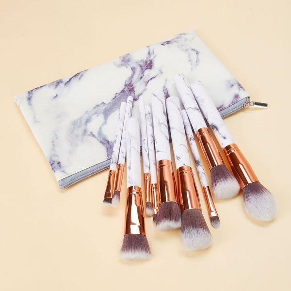 Marble Pattern Handle Makeup Brush 10pcs With Bag, White