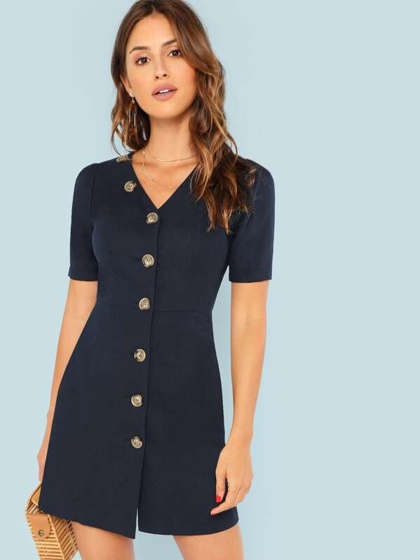 Pocket Side Button Through Dress by Shein