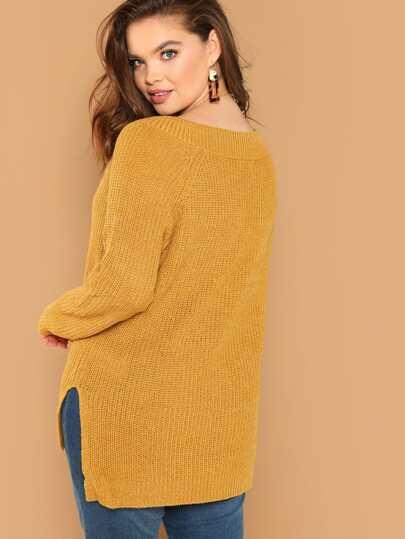 V-Neck Side Slit Dip Hem Knit Pullover Sweater  c0ba65cba