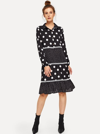 7152b159e7 Cut And Sew Polka Dot Shirt Dress
