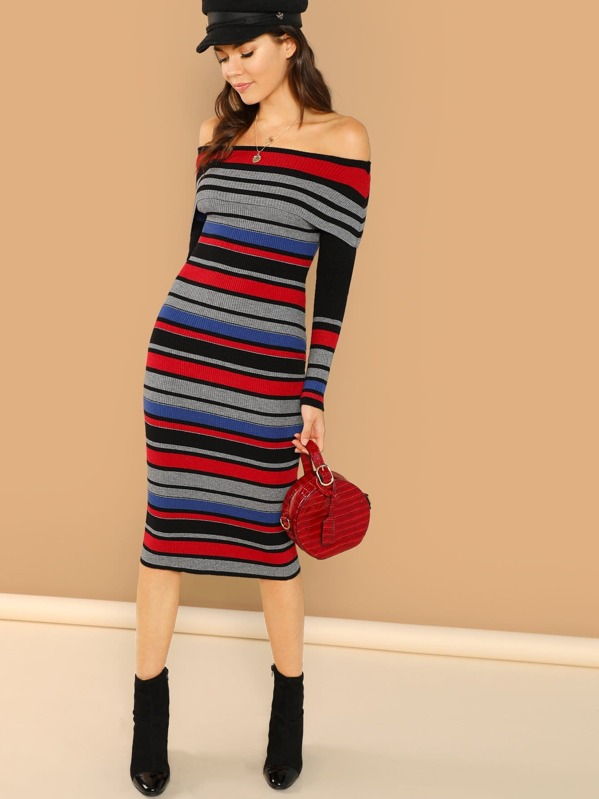 Fold Over Off The Shoulder Striped Midi Dress by Sheinside