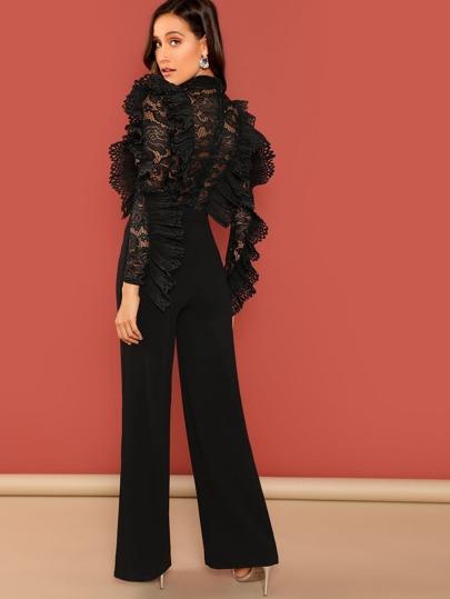 266cfd8c7ff5 Ruffle Trim Sheer Lace Bodice Palazzo Jumpsuit -SheIn(Sheinside)