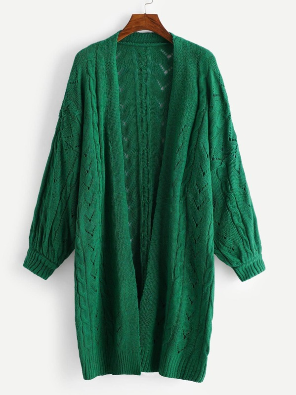 bb5f7050d6 Plus Open Front Drop Shoulder Solid Knit Coat -SheIn(Sheinside)