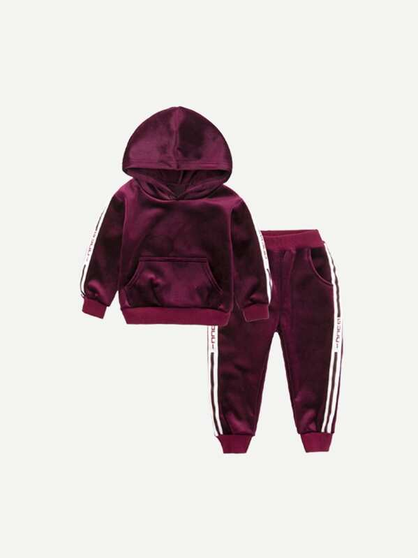 Toddler Boy Tape Detail Velvet Hoodie With Pants