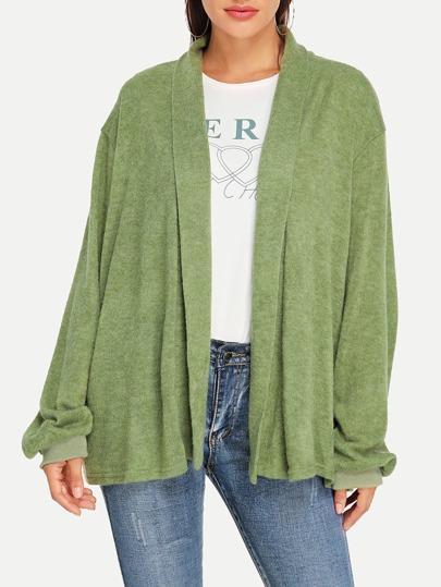 545860519b Bishop Sleeve Solid Knit Coat -SheIn(Sheinside)