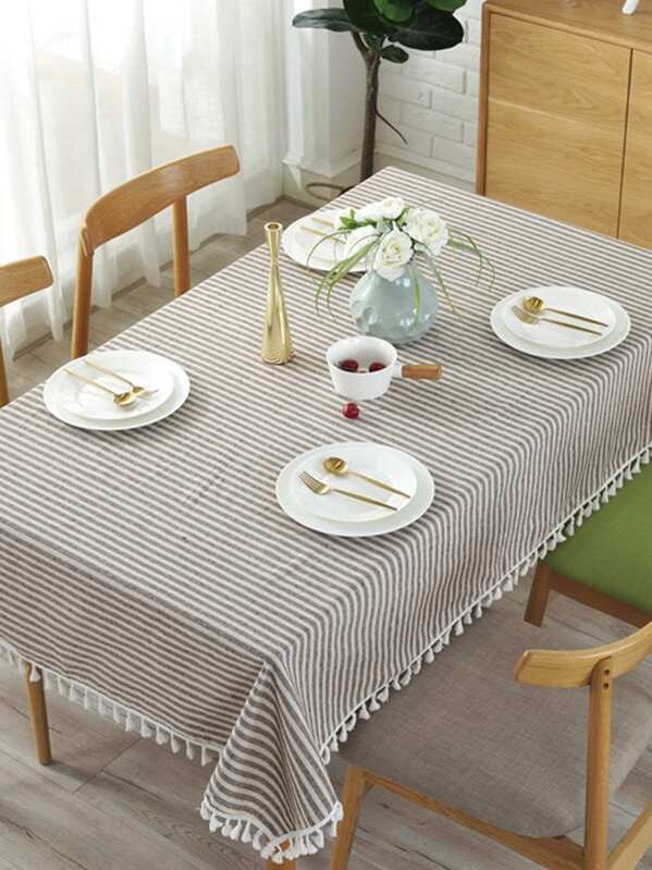 Striped Pattern Fringe Tablecloth
