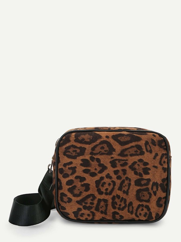 Leopard Pattern Zipper Bum Bag by Sheinside