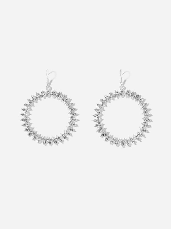 Rhinestone Hoop Drop Earrings by Sheinside