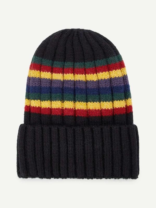 21420a787d084 Color Block Striped Beanie Hat -SHEIN(SHEINSIDE)