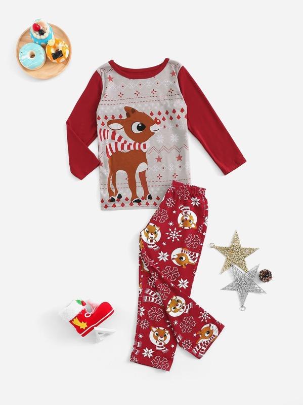 29efe30b9c3 Conjunto de pijama de niños de Navidad con estampado de ciervo-Spanish  SheIn(Sheinside)