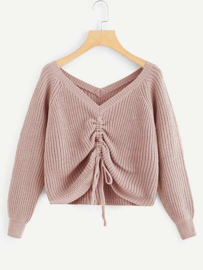 Drawstring Detail Solid Sweater 5c517fc0e