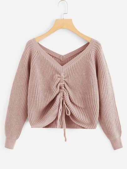 Drawstring Detail Solid Sweater
