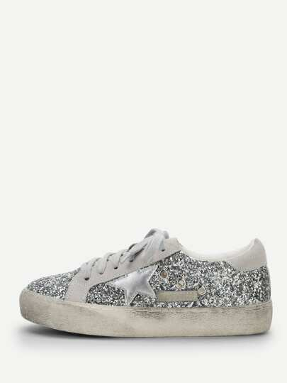 Star Detail Glitter Lace Up Sneakers 06fe2af4e578