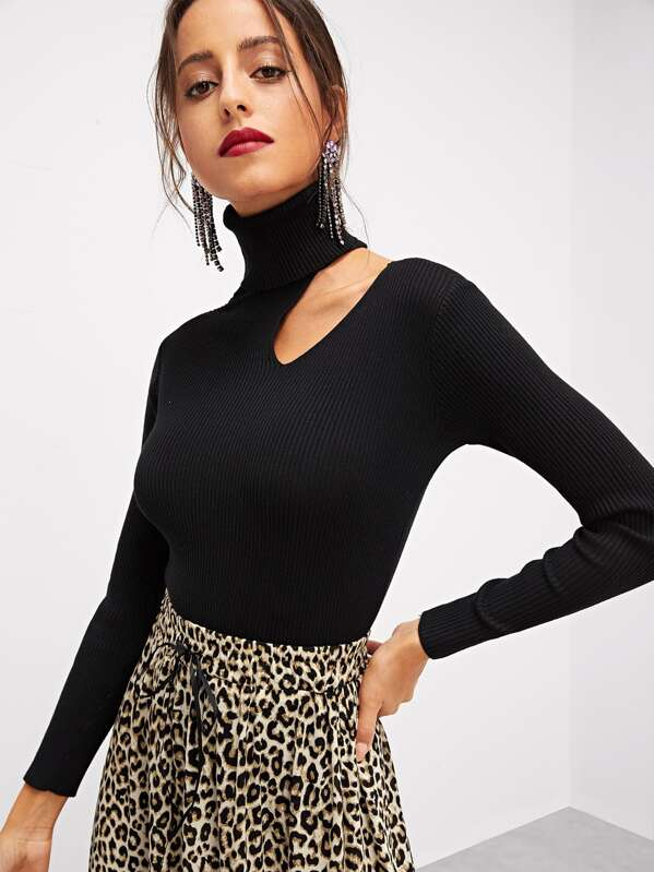 Rolled Neck Asymmetrical Neck Sweater by Shein