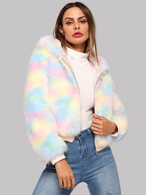 Zip Up Colorful Faux Fur Teddy Coat by Shein