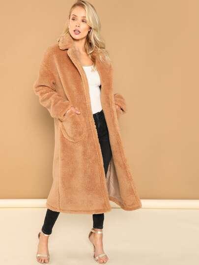 SHEIN Notch Collar Single Breasted Teddy Coat