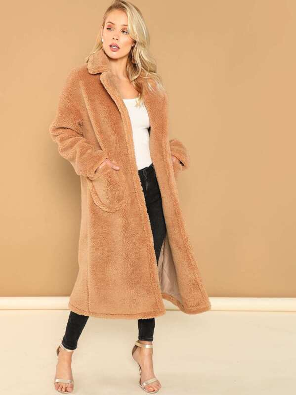 notch-collar-single-breasted-teddy-coat by shein