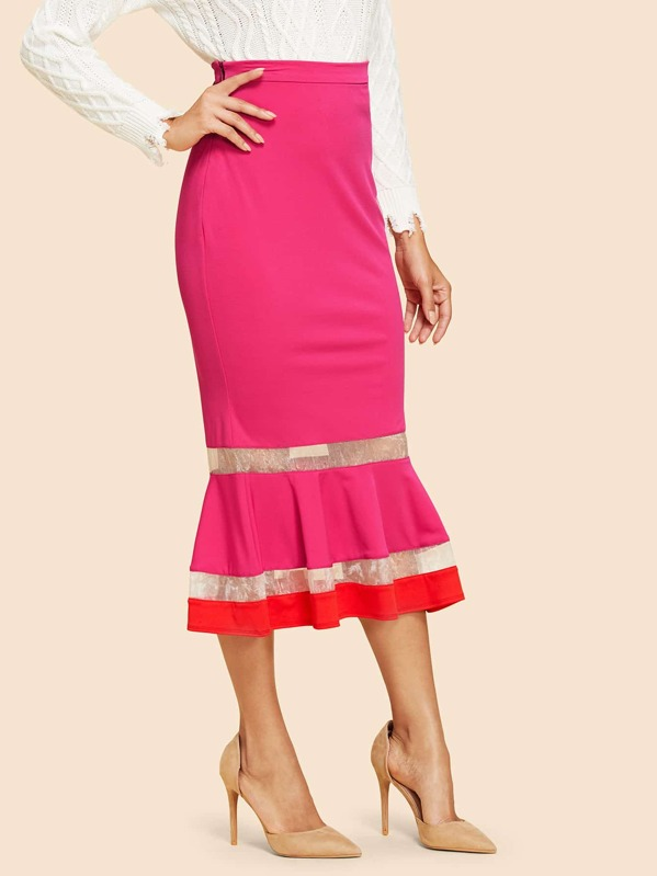 Neon Pink Mermaid Hem Bodycon Skirt by Shein