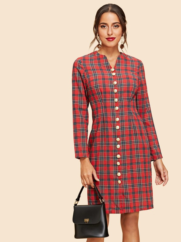 Button Up Plaid Dress by Shein