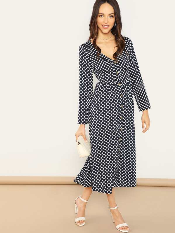 Polka Dot Button Front Dress by Shein