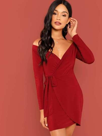 00a5f3783b30 Surplice Wrap Self Tie Bardot Dress   SHEIN