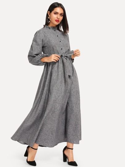 Frill Trim Button Front Hijab Dress 8ee35b432