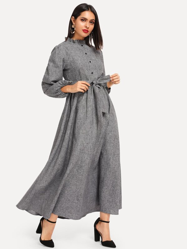 Frill Trim Button Front Hijab Dress, Grey, Verob