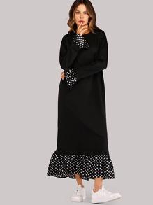 0533e03e673 Polka Dot Trim Pephem Combo Maxi Dress