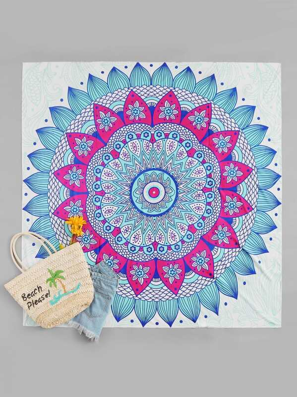 Lotus Flower Print Beach Blanket