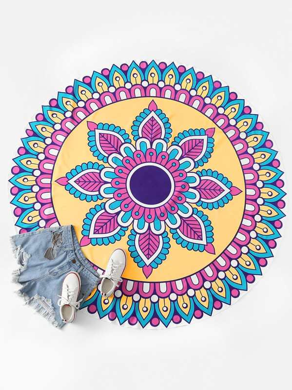 Graphic Round Beach Blanket