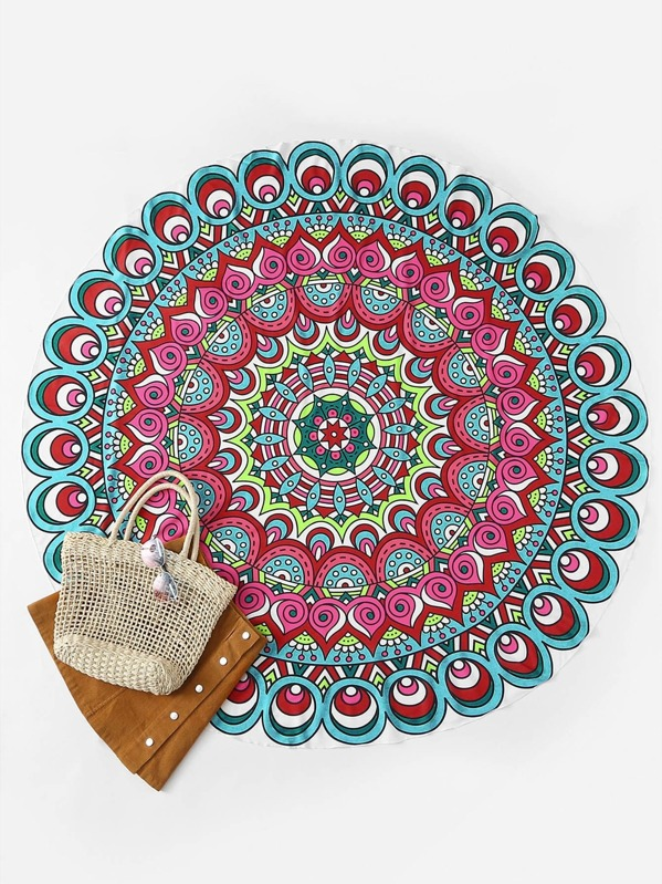 Graphic Print Round Beach Blanket
