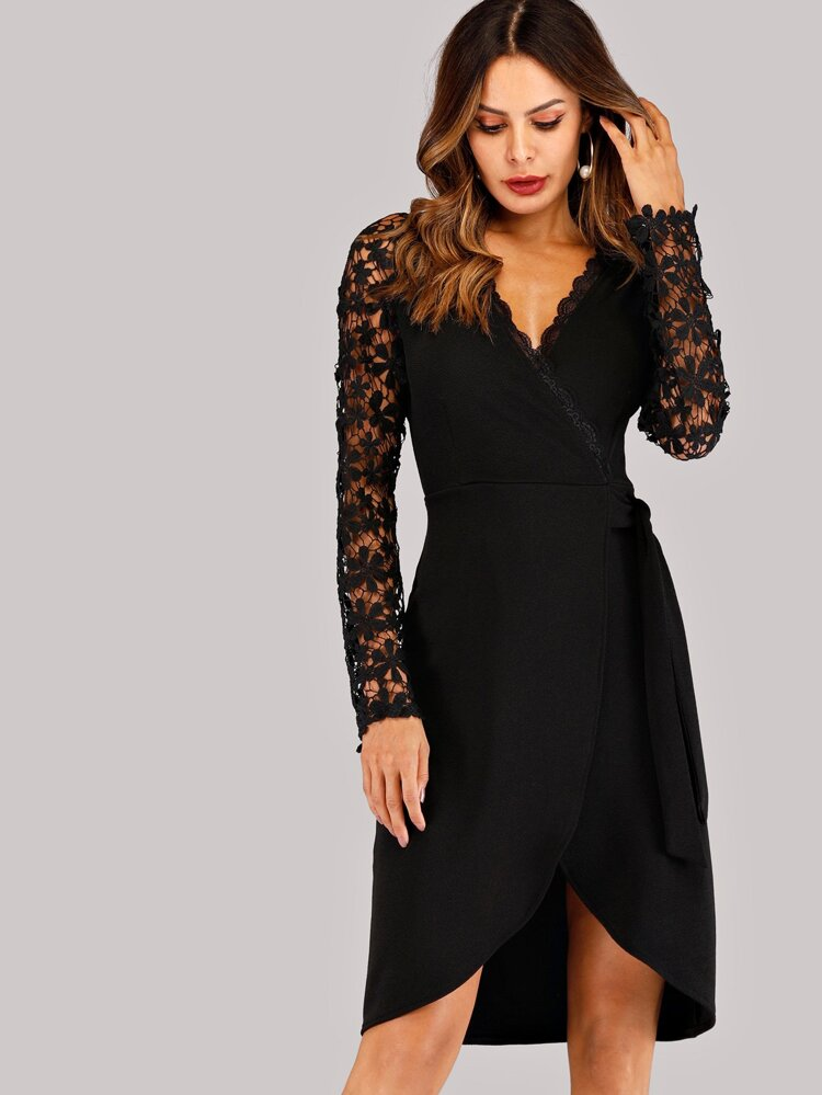 570b3ab729 Contrast Lace Wrap Dress