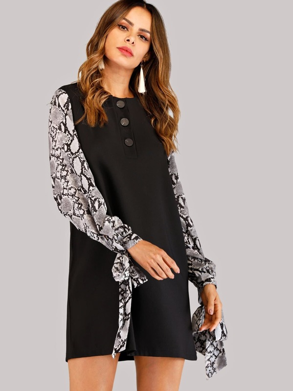 Knot Cuff Snake Print Dress by Sheinside