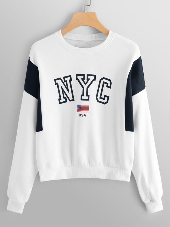 Letter And Flag Print Sweatshirt
